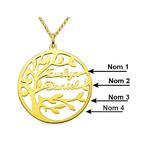 collier arbre de vie prénoms personnalisé choix 1 a 4 prenoms arbrobijoux