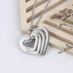 collier personnalisé coeur argent 4 prénoms superposés