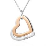 collier personnalisé coeur or rose et argent prénom superposés multicouche acier