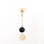 Boucles doreilles asymétriques pendantes or et noir style tendance
