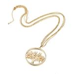 sautoir plaqué or avec grans pendentif arbre stylisé entouré de strass