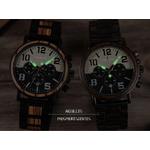 montre bois chronographe aviateur luminescent aiguilles