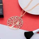 collier triple chaîne avec pendentif arbre et hibou couleur or