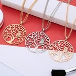 collier triple chaîne avec pendentif arbre et hibou plusieurs couleurs