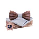 noeud papillon bois 3D noyer foncé gris arbrobijoux