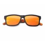 lunettes de soleil en bois modele ébène verres orange face arbrobijoux