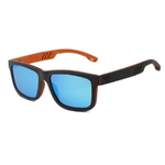 lunettes en bois modele sport verres bleu