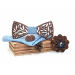 noeud papillon en bois découpe feuillage bleu clair