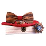 noeud papillon en bois brut rouge