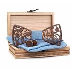 coffret noeud papillon bois hibiscus bleu jean