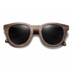 lunettes en bois modele chat noyer vue face
