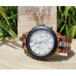 montre en bois chronographe acier solaris mouvement quartz japonnais arbrobijoux