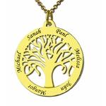collier arbre de vie acier plaqué or 18 carats cher personnalisé 6 prenoms