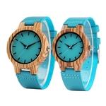 montre en bois homme ou femme bleue