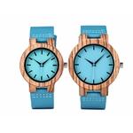 montre en bois homme ou femme bleu azur