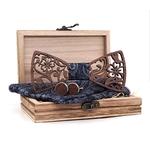 noeud papillon bois motif hibiscus découpe laser noir