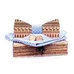 noeud papillon bois spécial Noël bleu clair