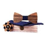 noeud papillon en bois mariage bleu pois