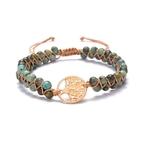 bracelet arbre de vie pierre naturelle de jaspe vert et or