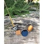 Collier pendentifs en bois et noir bohème