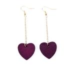 Boucles d'oreilles pendantes coeur bois et plaqué or