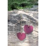 Boucles doreilles forme coeur pendantes violet et or