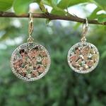 Boucles doreilles pendantes rondes or rose et zircon