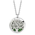 collier pendentif couleur changeable aromathérapie motif arbre