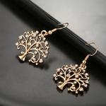 Boucles doreilles en forme darbre de vie pendantes or et strass