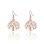 Boucles d'oreilles arbre de vie pendantes en plaqué or rose