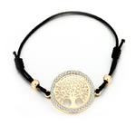 bracelet arbre de vie avec cordon noir longueur réglable