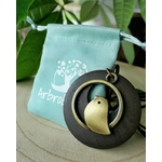 Collier en bois pendentif oiseau marron