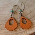 Boucles doreilles pendantes en bois bohèmes