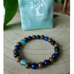 Bracelet perles bois bleus et marron