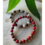 Bracelets bois perles rouge et blanche