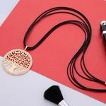 collier arbre de vie avec cordon noir et strass