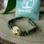 Bracelet arbre de vie or tressé pierres naturelles jaspe