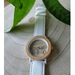 Montre en bois bracelet cuir blanc cadran bois clair