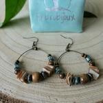 Boucles créoles perles bois et coquillage naturel