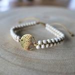 Bracelet pierres naturelles blanches howlite arbre de vie doré
