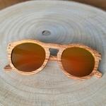 Lunettes de soleil verres oranges originales en bois