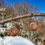 Boucles doreilles pendantes flocon neige esprit Noël en bois