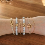 Ensemble de bracelets assortis bleu et or coeur infini perles tortue