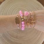 Ensemble de bracelets arbre de vie et ananas rose