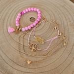 Ensemble de bracelets rose et or arbre de vie