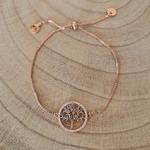 Bracelet Arbre de vie or rose pierres bleues