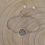 Bracelet argenté strass bleu arbre de vie