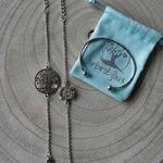 Bracelets jonc et arbre de vie argenté