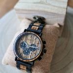 Montre chronographe homme en acier et bois
