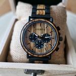 Montre homme chronographe bois et acier